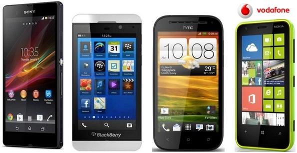 Todos los precios del Blackberry Z10, Sony Xperia Z y HTC One SV con Vodafone desde 0 euros