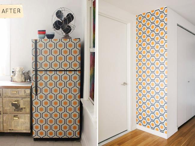 Personaliza tu nevera con papel pintado for Papel adhesivo para muebles ikea