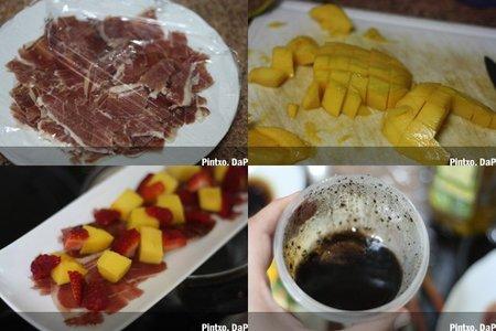 Ensalada de mango y jamón. Pasos