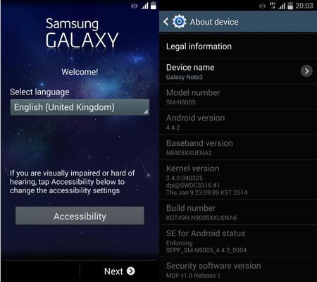 Galaxy Note con KitKat