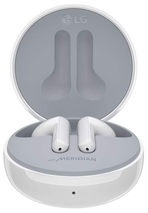 Auriculares LG TONE Free FN4 - Carga rápida, Doble Micro, IPX4, Meridian, Estuche Cargador UVnano