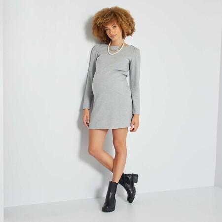Vestido De Premama De Punto Suave Gris Null Yh995 2 Zc1
