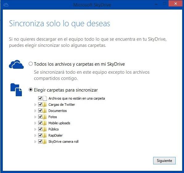Seleccion de modo SkyDrive