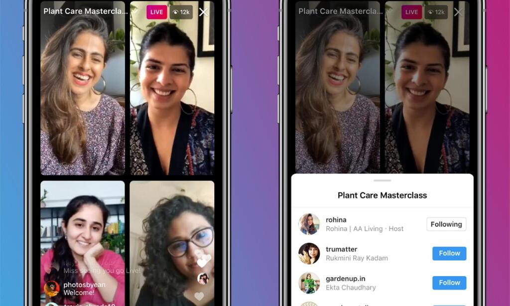 Instagram busca competir con Clubhouse permitiendo hasta cuatro participantes en sus 'Live Rooms'