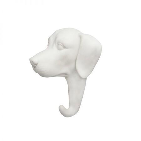 Gancho Perro Porcelana Blanca Dorado Colgador Recibidor Kleveling