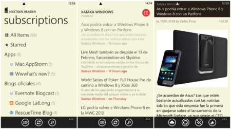 Nextgen Reader se actualiza para Windows Phone 8