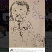 El dibujo al amado líder por parte de un niño que compartió Pablo Iglesias le ha salido por la culata