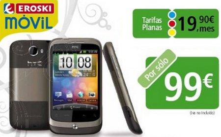 Eroski Móvil venderá el HTC Wildfire por 99 euros junto a sus nuevas tarifas planas