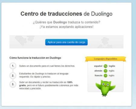 Envia tus propios documentos para ser traducidos por los usuarios de Duolingo.
