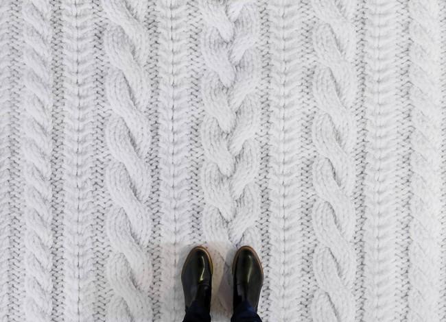 White Knit Texture Feet
