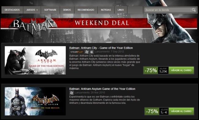 Batman se hace con el fin de semana en Steam