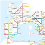 La red de carreteras del Imperio Romano, ilustradas al modo de un mapa de metro moderno