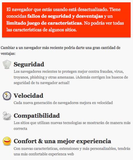 Browser Update - Mensaje para navegadores desactualizados