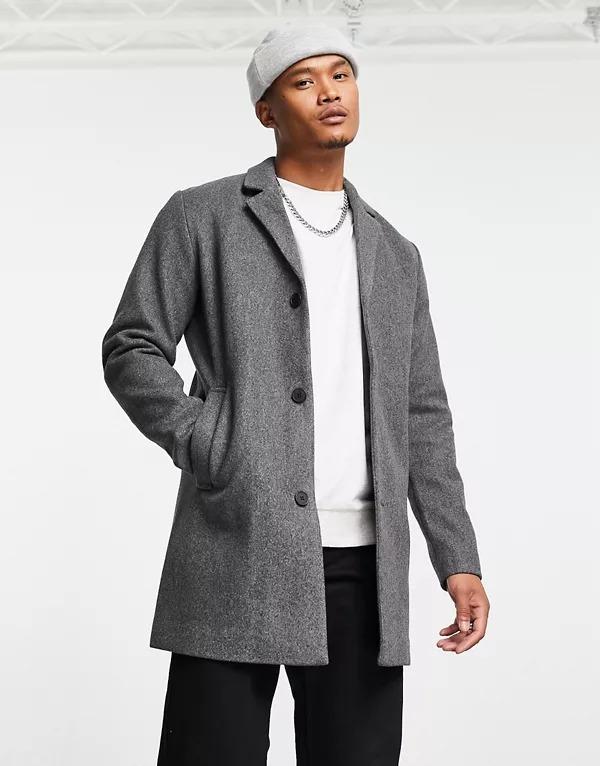Abrigo gris de lana sintética de Jack & Jones Originals