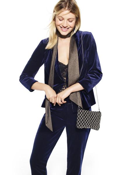 Velvet Tux Jacket E23 Velvet Tux Trousers E16 Lace Bralet E11 Skinny Lurex Neck Tie E5 Embellished Chain Bag E8