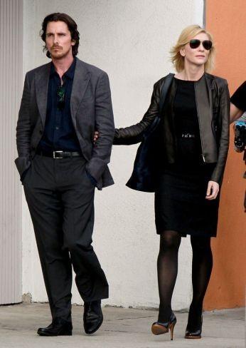 Christian Bale y Cate Blanchett en el rodaje de Knight of Cups