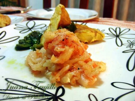Bacalao en aceite y tomate rallado, receta sencilla