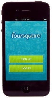 Pantalla principal de Foursquare en iPhone