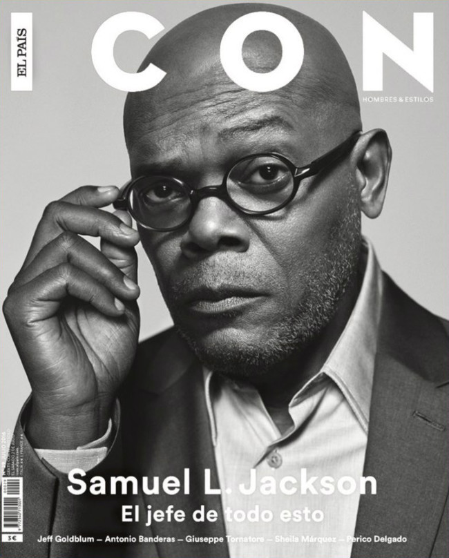 Me quedo hipnotizado con la mirada de Samuel L. Jackson en la portada de la revista Icon El País