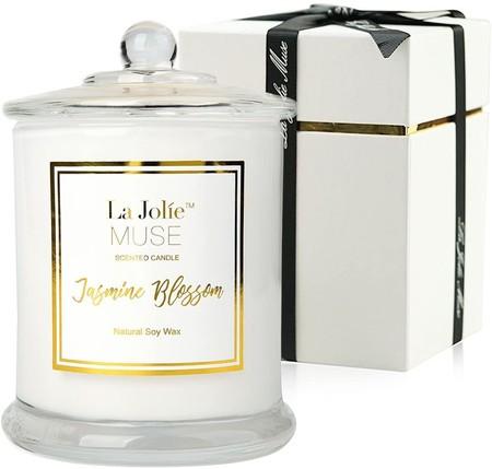La Jolie Muse Vela Perfumada Jazmin 100 Cera De Soja Aromaterapia Vela En El Cristal Caja De Regalo 60h