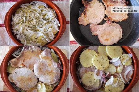 Chuletas de cerdo a la sidra con patatas. Pasos de la receta
