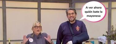 ¡Maldita lisiada! Máximo Huerta aparece con el brazo escayolado y explica cómo fue su aparatosa caída