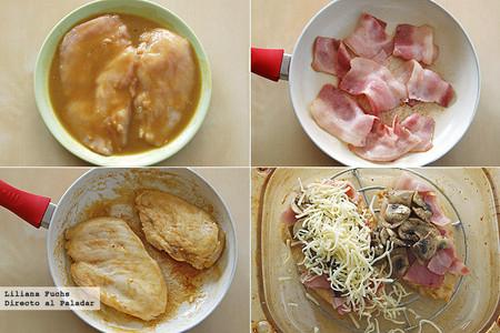 Pechugas de pollo a la mostaza y miel gratinadas con panceta y champiñones. Pasos