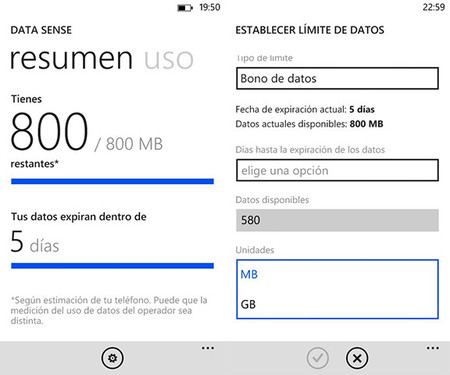 Data Sense en Windows Phone