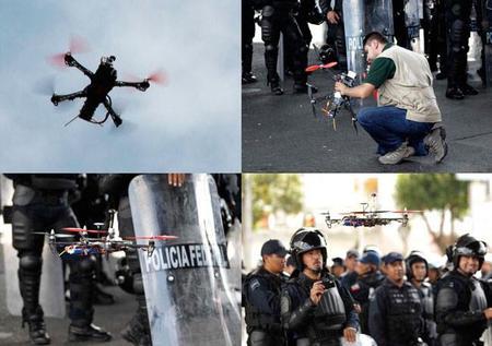 Drone vigila a manifestantes en la Ciudad de México