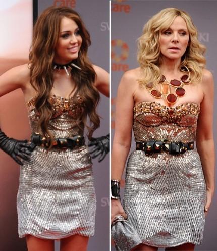 Miley Cyrus y Kim Catrall: que hacer si llevamos el mismo vestido a un estreno