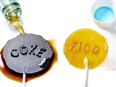 El azúcar de los refrescos convertido en piruletas extremadamente dulces
