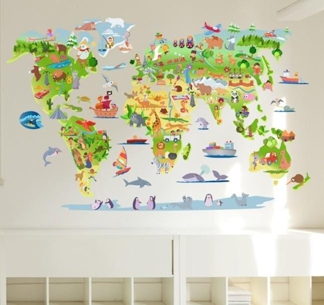 El mundo en su habitación: vinilo mapamundi para el cuarto del peque