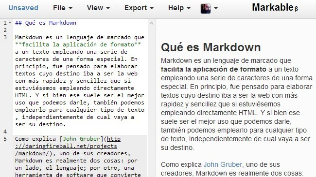 Markable, editor online de Markdown