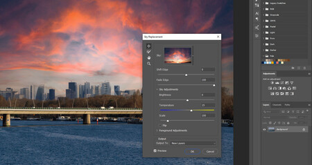 herramienta de reemplazo de cielo photoshop 2021
