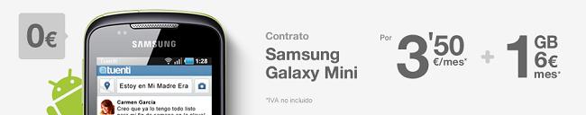 Samsung Galaxy Mini desde 84 euros con Tuenti