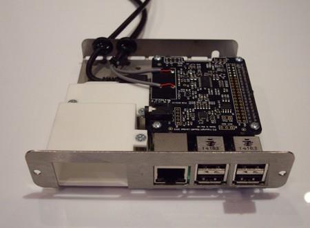 Detalle del módulo de audio con la Raspberry Pi. También podemos pedir un conector HDMI