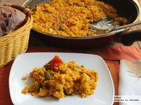 Arroz moruno de pollo y pimientos con especias marroquíes. Receta