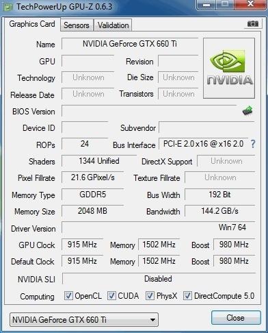 NVidia GTX 660 Ti GPUz