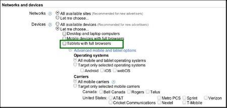AdWords permite ya segmentar por tipo de tableta táctil
