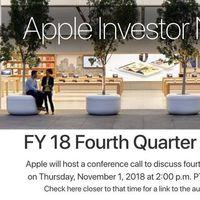 Apple presentará sus resultados financieros del cuarto trimestre fiscal de 2018 este 1 de noviembre