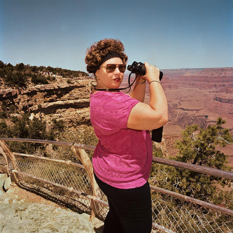 Woman With Binoculars At South Rim Grand Canyon National Park Az 1980