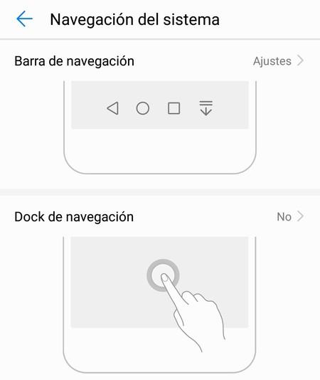 Cómo activar el Dock o cambiar el orden de los botones virtuales de navegación