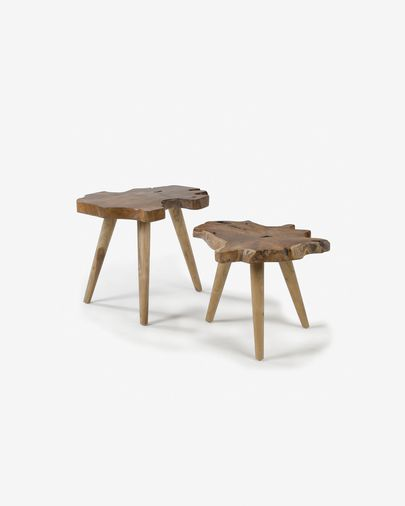 Set Hattie de 2 mesas auxiliares en madera de teca natural.