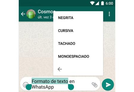 Cómo escribir en negrita, cursiva, tachado y monoespaciado en WhatsApp para Android