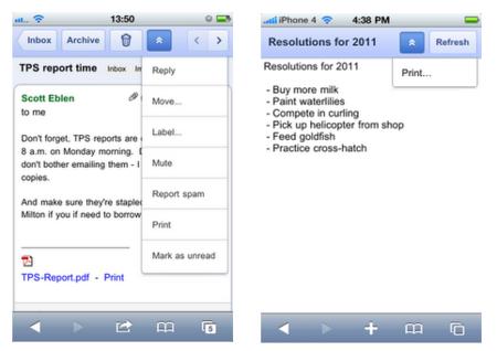 Google Cloud Print llega también a los móviles, aunque solo en Docs y Mail