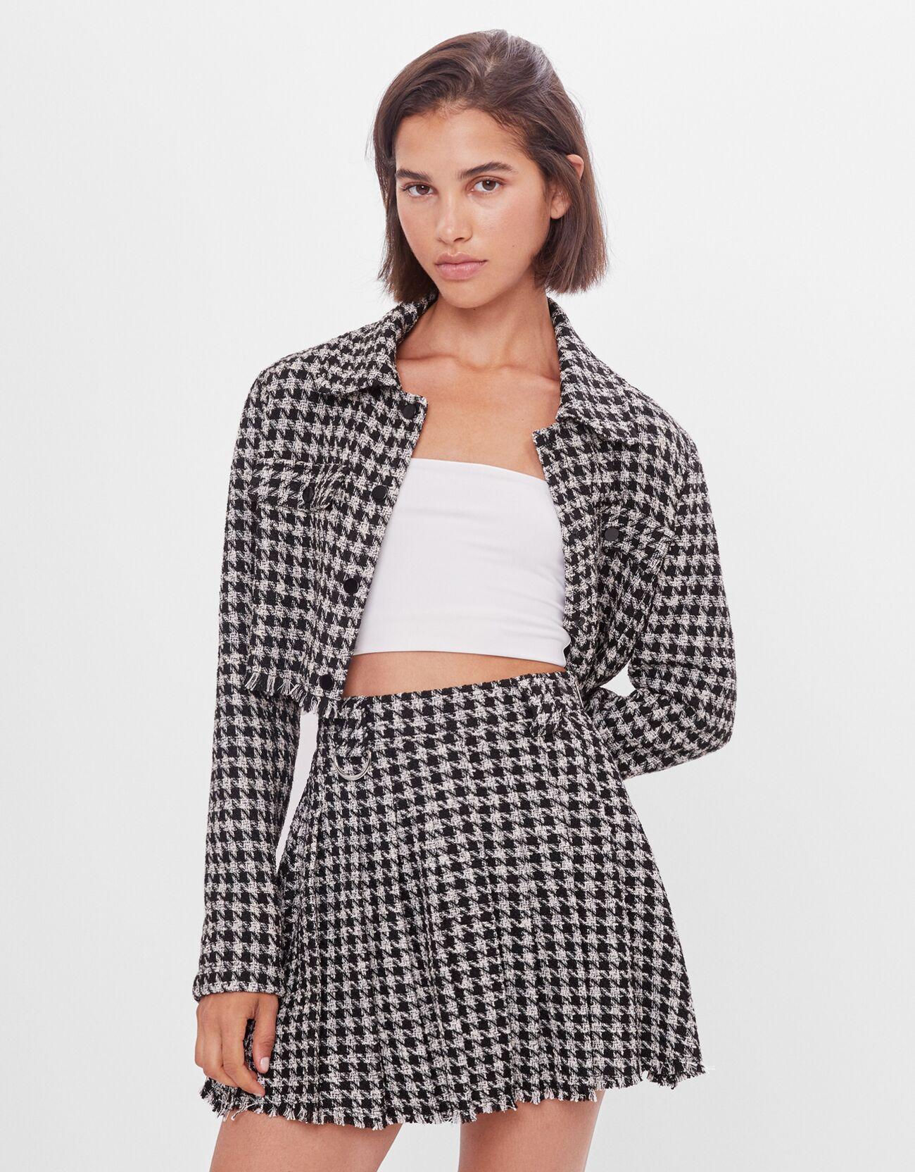Minifalda de tablas en tejido tweed y estampado de pata de gallo