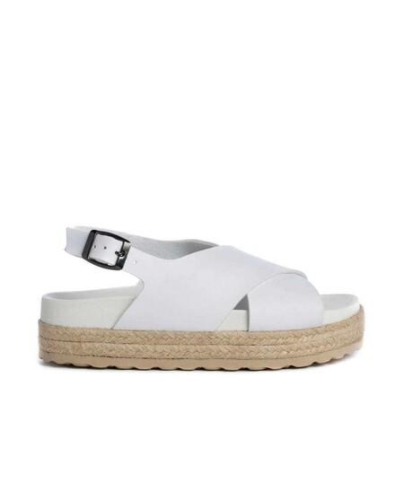 Sandalias De Plataforma De Mujer Duuo En Color Blanco Cruzadas