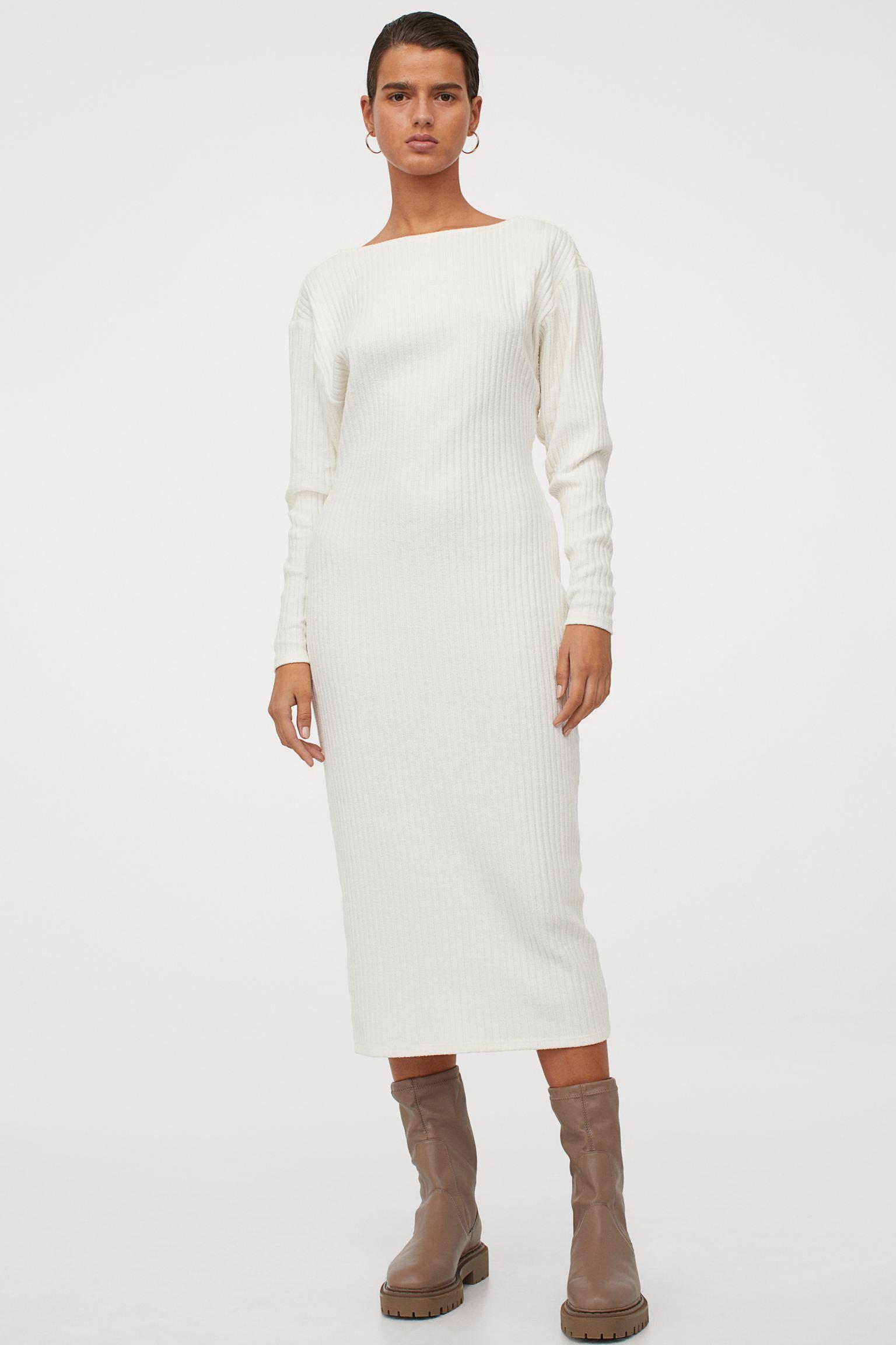 Vestido midi en punto de canalé de mezcla de algodón