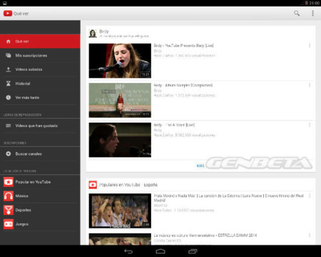 Android-x86 ejecutando YouTube