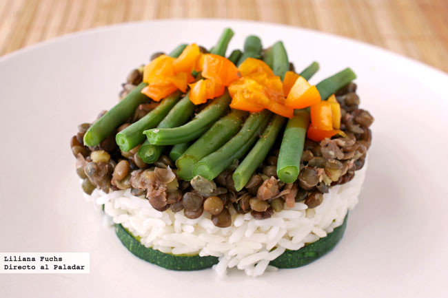 Ensalada de lentejas arroz y verduras receta de cocina for Cocinar lentejas con verduras